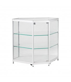 Showcase - Corner Counter - Matte Natural - LED