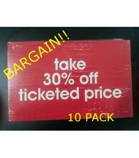 """Take 30% off"" Display Card Pack"