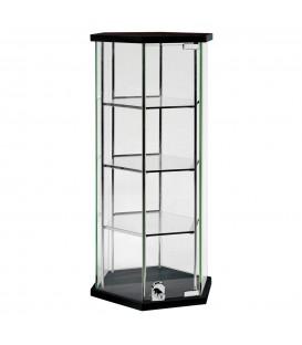 Hexagon Glass Counter Showcase Black